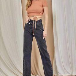 Charli Cross-tab Jeans | Indigo Closet