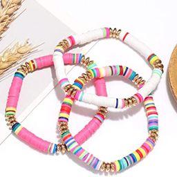 Surfer Heishi Bracelets for Women Stackable Rainbow Vinyl Disc Beaded Stretch Bracelets Elastic L... | Amazon (US)