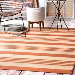 Terracotta Regency Stripes Indoor/Outdoor Area Rug | Rugs USA