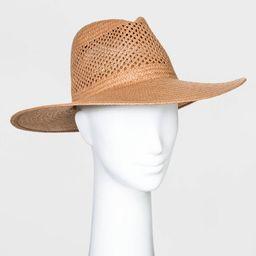 Women's Straw Wide Brim Fedora Hats - Universal Thread™ Brown One Size | Target