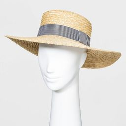 Women's Wheat Straw Boater Hats - A New Day™ Natural One Size | Target