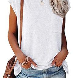 Hount Women's Short Sleeve Crewneck Tops Summer Casual Loose T Shirts Tee with Pocket | Amazon (US)