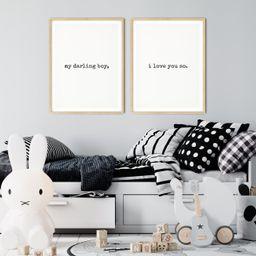 My Darling Boy I Love You So Nursery Wall Art Boys Room | Etsy | Etsy (US)