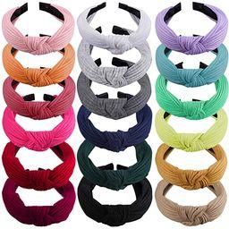 SIQUK 18 Pieces Top Knot Headband Wide Turban Headband Cloth Cross Knot Headbands for Women and G... | Amazon (US)