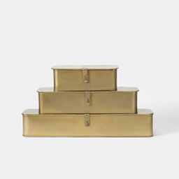 Brass Metal Boxes S/3 | Amber Interiors