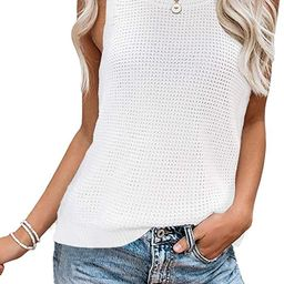 TECREW Womens Sleeveless Knit Tank Tops Side Split Casual Cami Sweater Vest   Amazon (US)