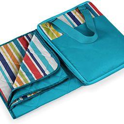 Picnic Time Vista Outdoor Picnic Blanket Tote, Aqua with Fun Stripes, 16 x 11 x 3 | Amazon (US)