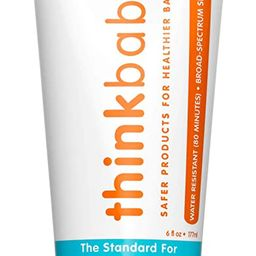 Baby Sunscreen Natural Sunblock from Thinkbaby, Safe, Water Resistant Sunscreen - SPF 50+ (6 ounc... | Amazon (US)