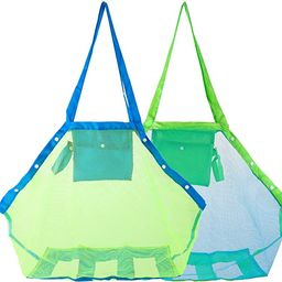 HOMETALL Mesh Beach Tote Bag, Kids Sea Shell Bags,2 Pack Large Beach Toy Bag Away from Sand,Bag T... | Amazon (US)