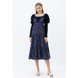 Plunging V-Neck Floret Ruffle Cami Dress in Navy   Chicwish