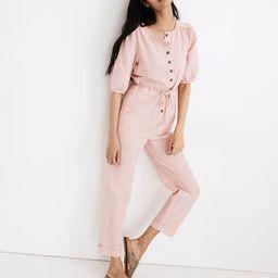 Linen-Blend Puff-Sleeve Tassel-Tie Jumpsuit   Madewell