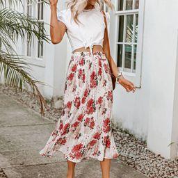 Simplee Elastic Waist Floral Pleated Skirt | SHEIN