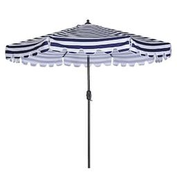 DIRECT WICKER 9 ft. Market Aluminum Outdoor Umbrella Crank Lift in Blue-W41921425 - The Home Depo...   The Home Depot