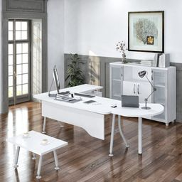 Nevra 5 Piece Office Set with Hutch   Wayfair North America