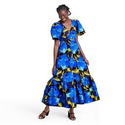 Floral Puff Sleeve Tiered Dress - Christopher John Rogers for Target Blue 4 | Target