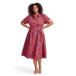 Plus Size Tropical Leaf Short Sleeve Shirtdress - ALEXIS for Target Orange/Blue 4X | Target