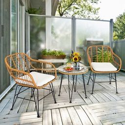 Costway3PCS Patio Rattan Bistro Furniture Set Cushioned Chair Table   Target