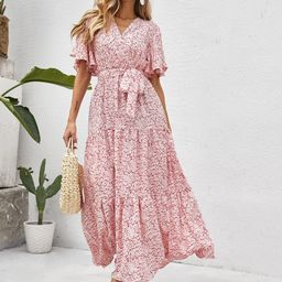 All Over Floral Print Ruffle Hem Butterfly Sleeve Belted Dress   SHEIN