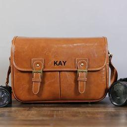 Personalized Medium PU Leather DSLR Camera Bag Leather Trim | Etsy | Etsy (US)