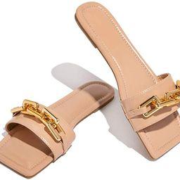 ARQA Women's Summer Slippers Open Toe Flat Sandals Metal Chain Slides Shoes | Amazon (US)