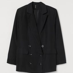 Straight-cut, oversized, double-breasted jacket in woven fabric. Pointed lapels, mock front pocke... | H&M (US)