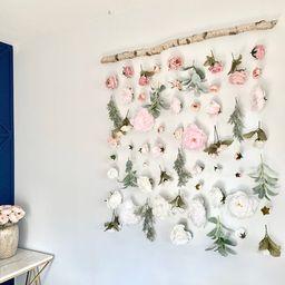 Flower wall hanging, Hanging Flower backdrop, Flower curtain, floral backdrop,  Boho flower hangi... | Etsy (US)
