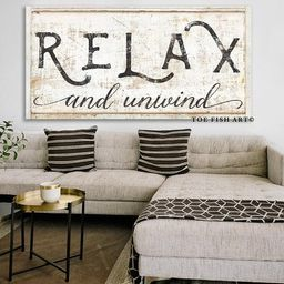 RELAX and Unwind Modern Farmhouse Decor Living Room Sign Bathroom sign Canvas Print Inspirational... | Etsy (US)