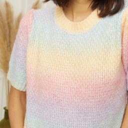 Ombre Rainbow knit short sleeve Jumper Faye   outdazl