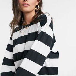 ASOS DESIGN oversized t-shirt dress with long sleeve in black and white stripe | ASOS (Global)