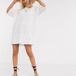 ASOS DESIGN broderie super oversized t-shirt dress in white | ASOS (Global)
