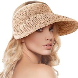 Women's Wide Brim Sun Hats Roll-up Foldable Straw Golf Visor Hat | Amazon (US)