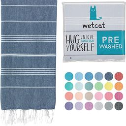 WETCAT Turkish Beach Towel (38 x 71) - Prewashed for Soft Feel, 100% Cotton - Quick Dry Bath Towe...   Amazon (US)