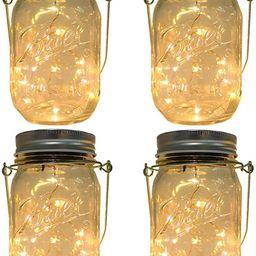CHBKT 4-Pack Solar-powered Mason Jar Lights (Mason Jar / Handle Included),20 Bulbs Jar Hanging Li...   Amazon (US)