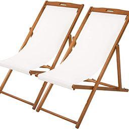 Beach Sling Chair Set Patio Lounge Chair Patio Furniture Outdoor Reclining Beach Chair Wooden Fol...   Amazon (US)