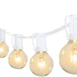 50Feet G40 Outdoor Patio White String Lights-Connectable Globe Lights with 52 Clear Bulbs(2 Spare... | Amazon (US)