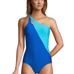 Women's Chlorine Resistant Tummy Control One Shoulder One Piece Swimsuit Adjustable Strap | Lands' End (US)