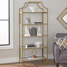 "Better Homes & Gardens 71"" Nola 5 Tier Etagere Bookcase, Gold Finish   Walmart (US)"