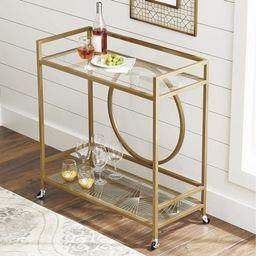 Better Homes & Gardens Nola Mid-Century Metal & Glass Bar Cart, Gold Finish   Walmart (US)
