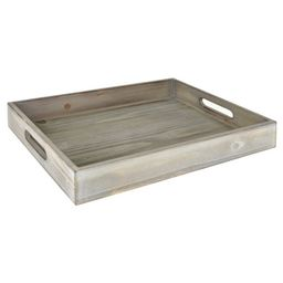 """Better Homes & Gardens Tabletop Rectangle 16"""" x 12"""" x 2.5"""" Wooden Tray, Gray Wash 