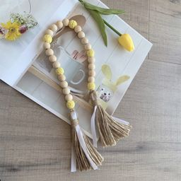 Farmhouse Rustic Country Style Wooden Beads Tassel Garland Wall Hanging Ornaments Wedding Party H... | Walmart (US)