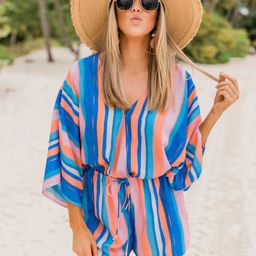 Back In My Heart Royal Blue Striped Romper   The Pink Lily Boutique