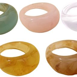 Set Resin Colorful Wide Thick Dome Knuckle Finger Stackable Joint Ring Retro Acrylic Transparent ... | Amazon (US)