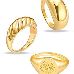 MOROTOLE 3Pcs Chunky Gold Rings Set for Women Thick Dome Rings 18K Gold Plated Croissant Braided ... | Amazon (US)