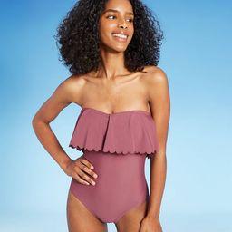 Women's Scalloped Flounce Medium Coverage One Piece Swimsuit - Kona Sol™ Mulberry | Target