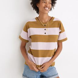 Parkview Henley Tee in Rugby Stripe   Madewell