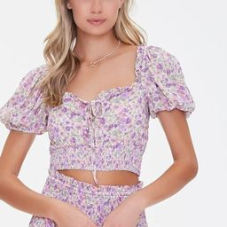 Floral Puff-Sleeve Crop Top | Forever 21 (US)