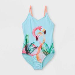 Girls' Flamingo Print One Piece Swimsuit - Cat & Jack™ Aqua | Target