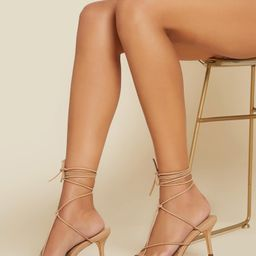 Faux Leather Lace-Up Strappy High Heels | SHEIN