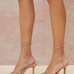 Faux Patent Leather Open-Toe Lace-Up Heels | SHEIN