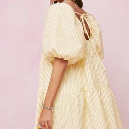 Striped Puff Sleeve Oversized Mini Dress | NastyGal